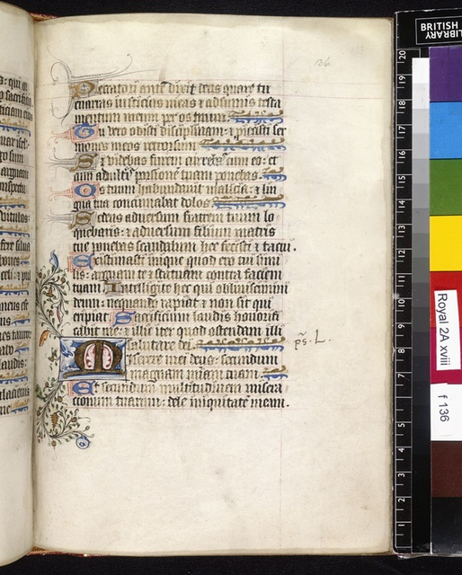 Illuminated initial from BL Royal 2 A XVIII, f. 136