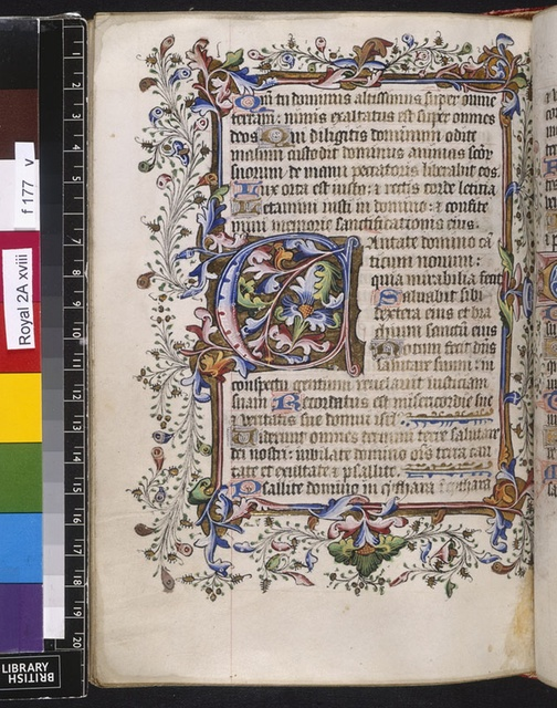 Illuminated initial from BL Royal 2 A XVIII, f. 177v