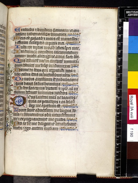Illuminated initial from BL Royal 2 A XVIII, f. 190