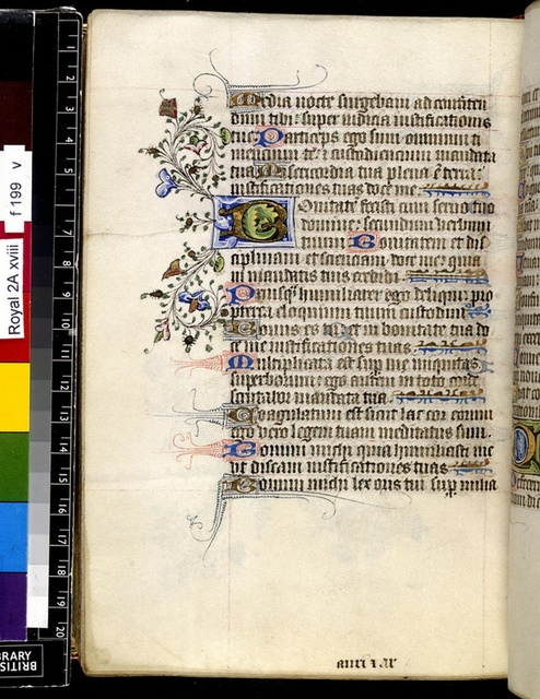 Illuminated initial from BL Royal 2 A XVIII, f. 199v