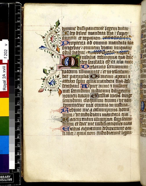 Illuminated initial from BL Royal 2 A XVIII, f. 202v