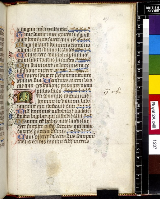 Illuminated initial from BL Royal 2 A XVIII, f. 207