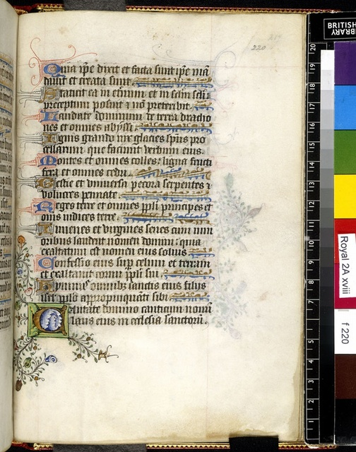 Illuminated initial from BL Royal 2 A XVIII, f. 220
