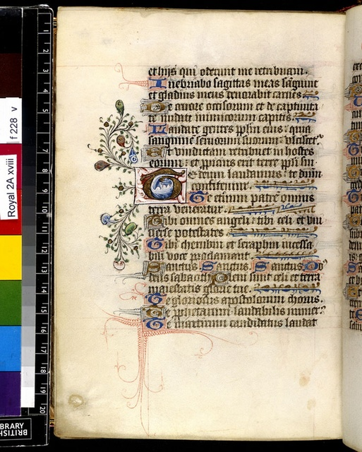 Illuminated initial from BL Royal 2 A XVIII, f. 228v