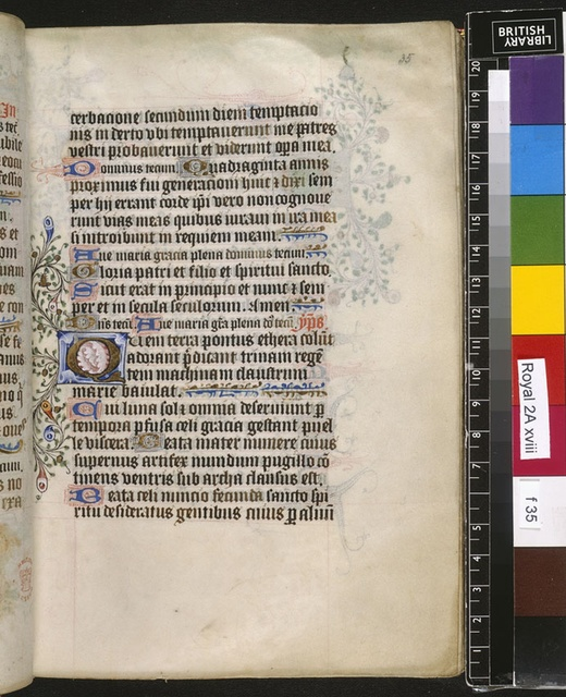 Illuminated initial from BL Royal 2 A XVIII, f. 35