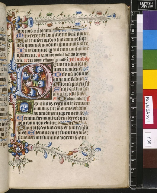 Illuminated initial from BL Royal 2 A XVIII, f. 39