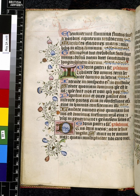Illuminated initial from BL Royal 2 A XVIII, f. 39v