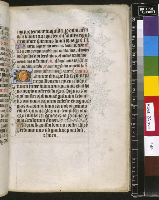 Illuminated initial from BL Royal 2 A XVIII, f. 49