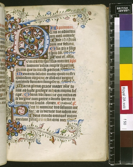 Illuminated initial from BL Royal 2 A XVIII, f. 50