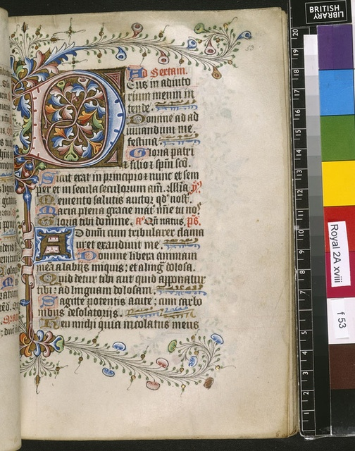Illuminated initial from BL Royal 2 A XVIII, f. 53