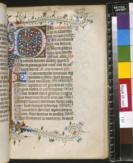Illuminated initial from BL Royal 2 A XVIII, f. 57