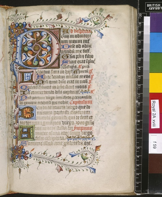 Illuminated initial from BL Royal 2 A XVIII, f. 59