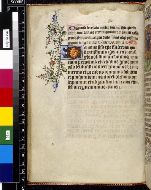 Illuminated initial from BL Royal 2 A XVIII, f. 65v