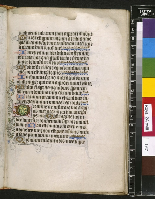 Illuminated initial from BL Royal 2 A XVIII, f. 67