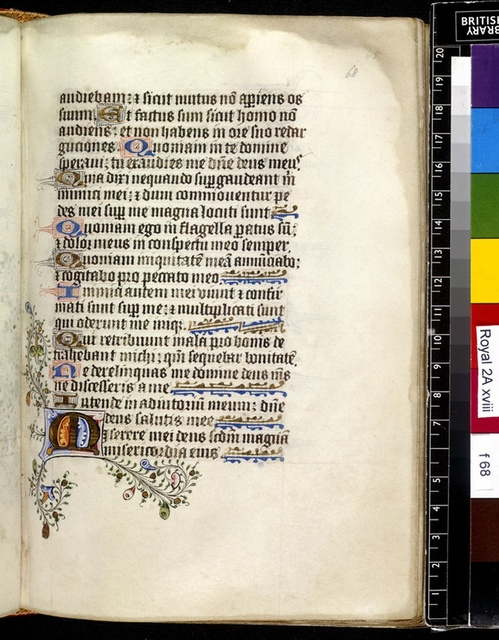 Illuminated initial from BL Royal 2 A XVIII, f. 68