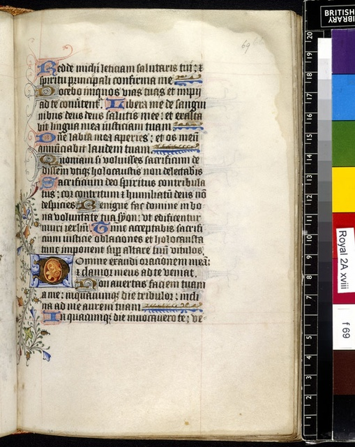 Illuminated initial from BL Royal 2 A XVIII, f. 69
