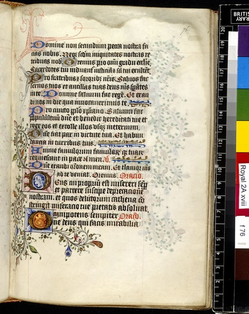 Illuminated initial from BL Royal 2 A XVIII, f. 76