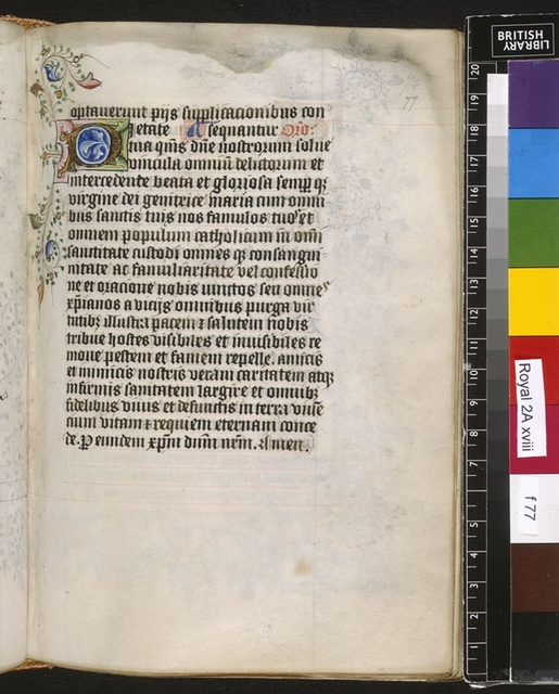 Illuminated initial from BL Royal 2 A XVIII, f. 77