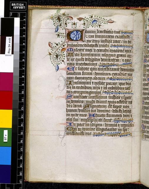 Illuminated initial from BL Royal 2 A XVIII, f. 97v