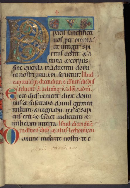 Illuminated initial from BL YT 2, f. 2