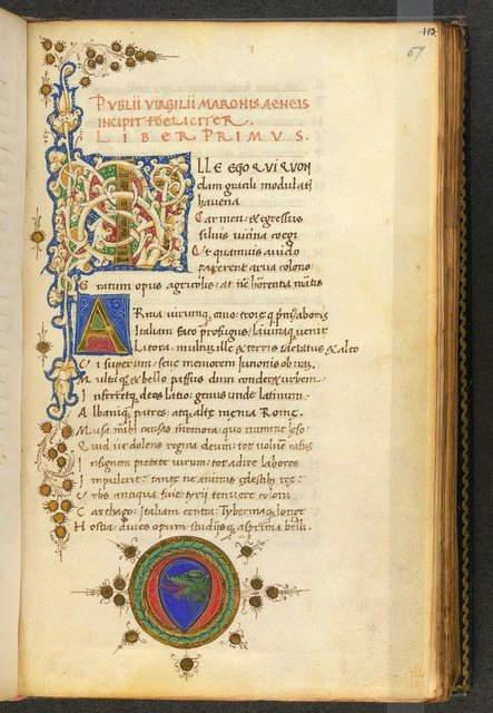 Illuminated initials and escutcheon from BL Burn 271, f. 57