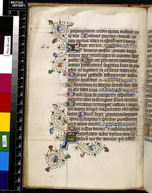 Illuminated initials from BL Royal 2 A XVIII, f. 102v