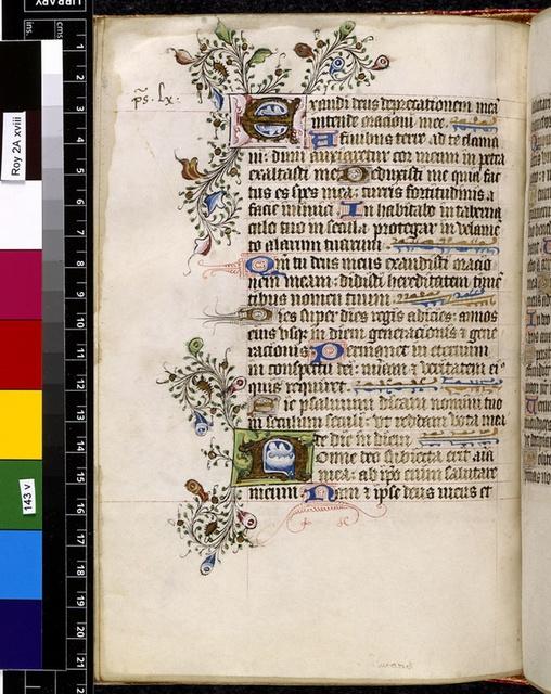 Illuminated initials from BL Royal 2 A XVIII, f. 143v