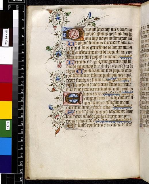 Illuminated initials from BL Royal 2 A XVIII, f. 147v