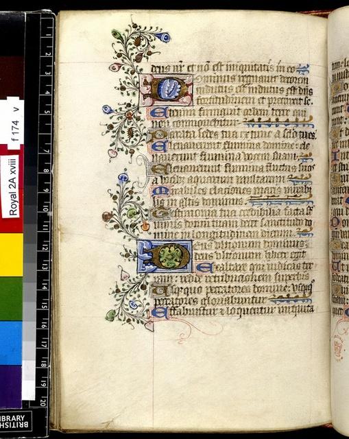 Illuminated initials from BL Royal 2 A XVIII, f. 174v