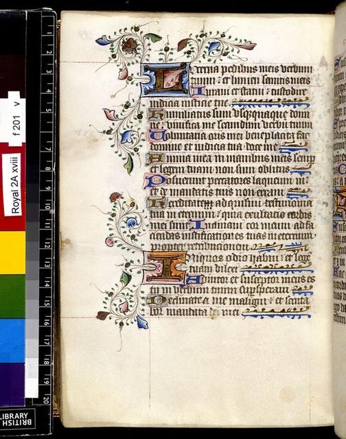 Illuminated initials from BL Royal 2 A XVIII, f. 201v