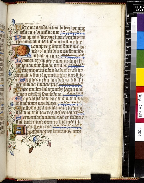 Illuminated initials from BL Royal 2 A XVIII, f. 204