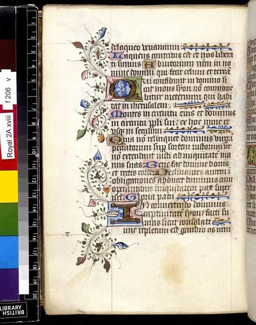Illuminated initials from BL Royal 2 A XVIII, f. 206v