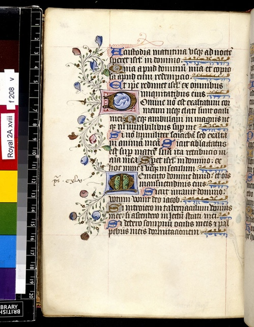 Illuminated initials from BL Royal 2 A XVIII, f. 208v