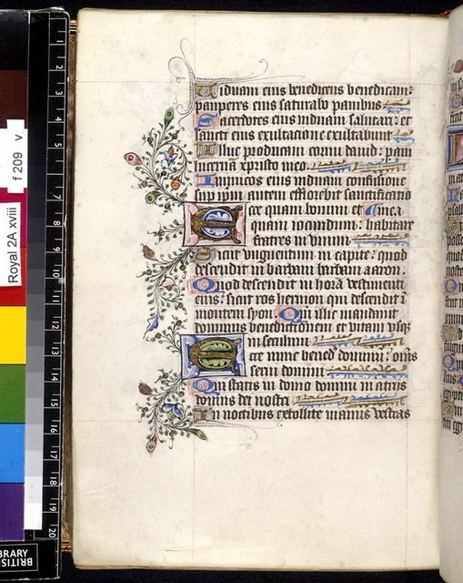 Illuminated initials from BL Royal 2 A XVIII, f. 209v