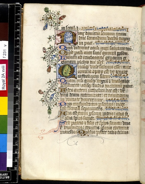 Illuminated initials from BL Royal 2 A XVIII, f. 231v