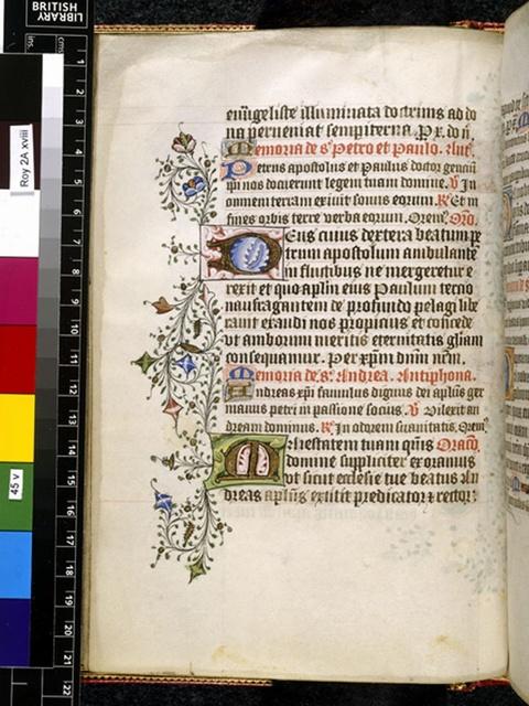 Illuminated initials from BL Royal 2 A XVIII, f. 45v