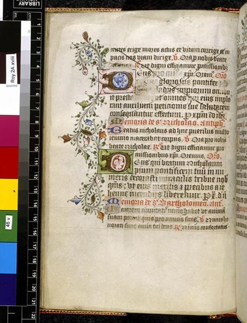 Illuminated initials from BL Royal 2 A XVIII, f. 46v