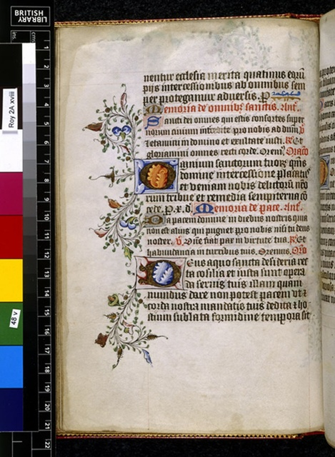Illuminated initials from BL Royal 2 A XVIII, f. 48v