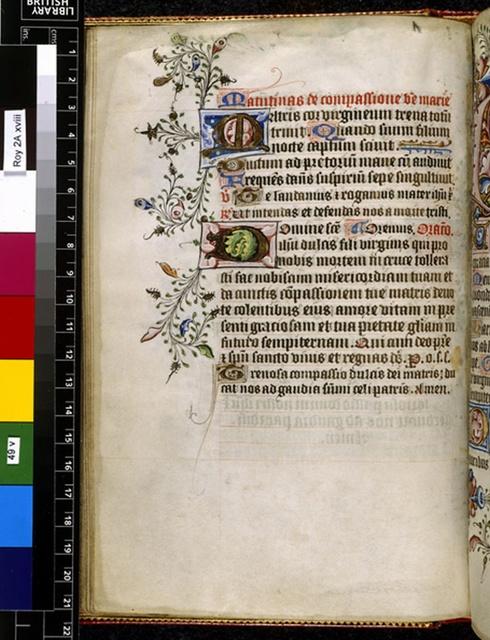 Illuminated initials from BL Royal 2 A XVIII, f. 49v