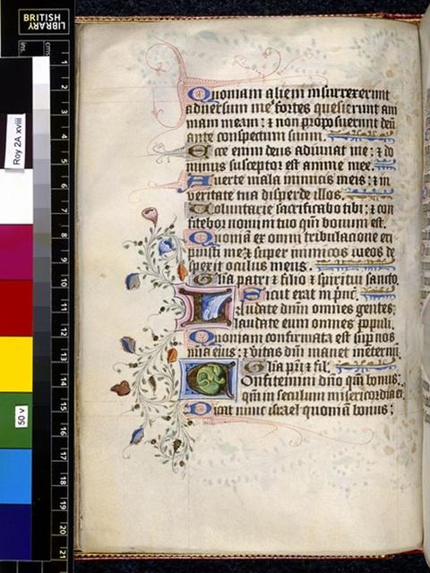 Illuminated initials from BL Royal 2 A XVIII, f. 50v