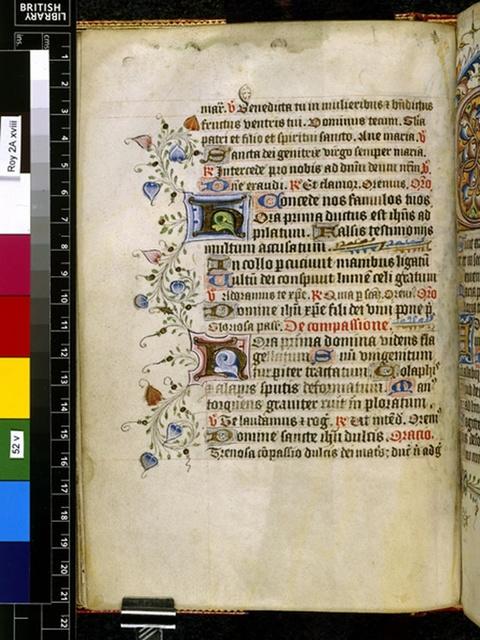 Illuminated initials from BL Royal 2 A XVIII, f. 52v