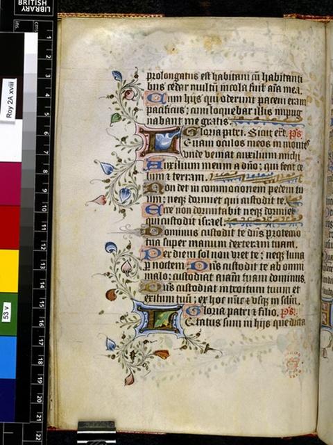 Illuminated initials from BL Royal 2 A XVIII, f. 53v