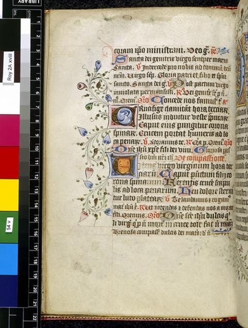 Illuminated initials from BL Royal 2 A XVIII, f. 54v