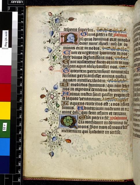 Illuminated initials from BL Royal 2 A XVIII, f. 55v