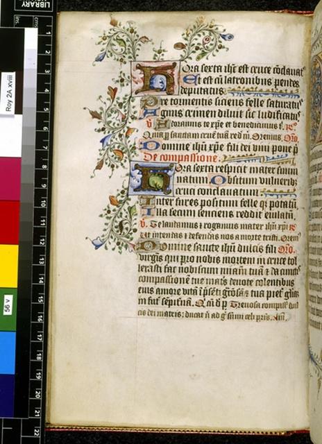 Illuminated initials from BL Royal 2 A XVIII, f. 56v