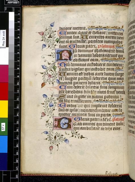 Illuminated initials from BL Royal 2 A XVIII, f. 57v