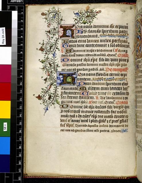 Illuminated initials from BL Royal 2 A XVIII, f. 58v
