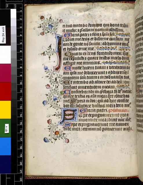 Illuminated initials from BL Royal 2 A XVIII, f. 61v