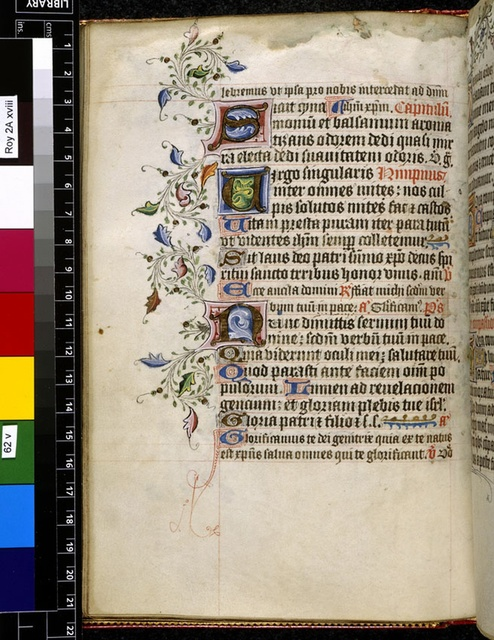 Illuminated initials from BL Royal 2 A XVIII, f. 62v