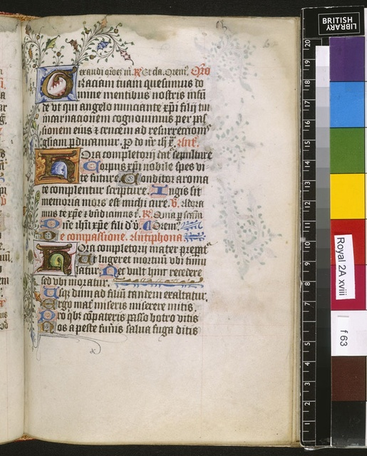 Illuminated initials from BL Royal 2 A XVIII, f. 63